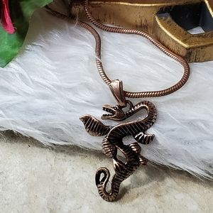 N286 Copper Winged Serpent Pendant Necklace